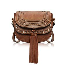 Yoins Yoins Double Flap Stud Shoulder Bag (640 ZAR) ❤ liked on Polyvore featuring bags, handbags, shoulder bags, purses, yoins, brown, leather shoulder handbags, brown leather shoulder bag, brown leather purse and handbags purses