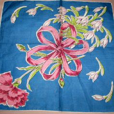 Blue hankie with pink carnation