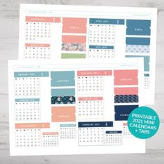 Printable mini calendars and page tabs for 2021. Ideal for your bullet journal, planner or notebook. Includes assorted mini size calendars, from January 2021 through to December 2021, plus monthly page tabs and patterned page tabs. Gorgeous floral design and colour combination which coordinate beautifully to create a cohesive look throughout your journal. #bulletjournaling #bulletjournal #bujo #printablecalendar #2021calendar #bulletjournalcalendar #minicalendar #pagetabs #plannertabs…