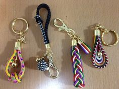 Kumihimo 4 different keychains