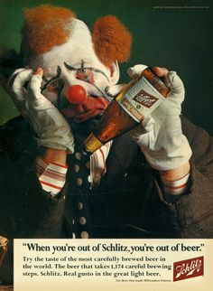 Clown sad. Bad beer all gone and kids birthday party only half over.