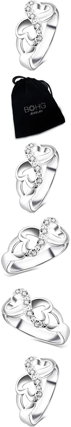 BOHG Jewelry Womens Fashion Silver-Plate Cubic Zirconia CZ Heart Infinity Symbol Ring Wedding Band Size 4