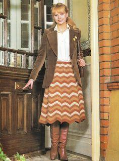 Monkey's Retro Scan Emporium and Lounge Crochet Skirt Pattern, Knit Skirt, Pattern Dress, 70s Fashion, Girl Fashion, Vintage Fashion, Retro Outfits, Cool Outfits, Preteen Girls Fashion