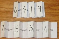 Teaching Maths with Meaning: Understanding Place Value-- u folding to read and practice reading large numbers.maybe laminate without the numbers so it can be changed. Teaching Place Values, Teaching Math, Teaching Ideas, Math Resources, Math Activities, Math Place Value, Math Notebooks, Homeschool Math, Homeschooling