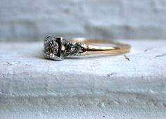 Classic Vintage 14K Yellow Gold Diamond Three Stone Engagement Ring - 0.64ct. $695.00, via Etsy.
