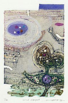 PRINT SHOW artist:No.21 佐竹邦子 SATAKE Kuniko「 wind signpost」木によるリトグラフ 20×13cm lithography by wood