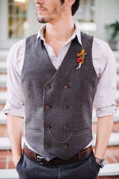 A Double-Breasted Vest - Unique Groom Looks You'll Both Love - Photos