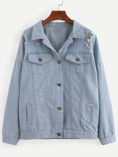 Shop Buttoned Front Ripped Light Blue Denim Jacket online. SheIn offers Buttoned Front Ripped Light Blue Denim Jacket & more to fit your fashionable needs.