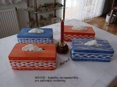 Krabička na kapesníčky :: Pletení z papíru - vázy 175 cm, 135 cm, 110 cm, postýlky, atd.