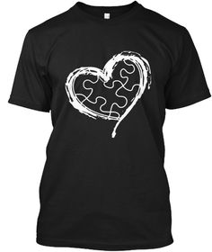 Autism Awareness Heart 2017 T Shirt Black T-Shirt Front