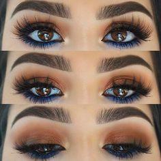Inspired by Kylie Jenner 🍑 ➖Brows- Brow definer in dark brown Anastasia Beverlyhills ➖Eyes- lid/ crease (coral,bronzy & & palettes & lower lash line (blue) palette all Morphe Brushes via veneto black eyeliner NARSissist ➖Lashes- 93 No Eyeliner Makeup, Hair Makeup, Blue Eyeliner Looks, Blue Eyeshadow For Brown Eyes, Make Up Brown Eyes, Brown Eyes Brown Hair, Brown Eyeshadow Tutorial, Hair Color For Brown Eyes, Makeup Trends