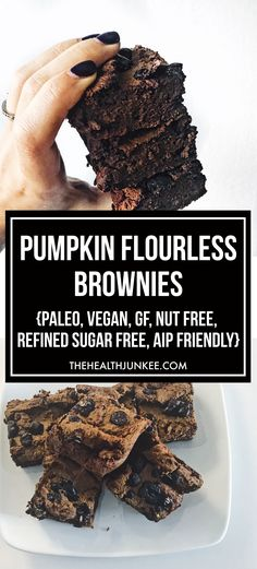 Fudgy Pumpkin Flourless Brownies - vegan, gluten free - the health junkee Gluten Free Baking, Gluten Free Desserts, Healthy Desserts, Hot Desserts, Sugar Free Vegan, Vegan Gluten Free, Dairy Free, Lactose Free, Grain Free