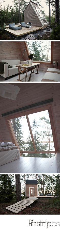 Micro Cabin in Finland is part of Tiny house Small wood House Tiny Cottages Micro Cabin in Finland - Cabins In The Woods, House In The Woods, Architecture Design, Tiny House Living, Little Houses, Cabana, My Dream Home, Interior And Exterior, Interior Ideas
