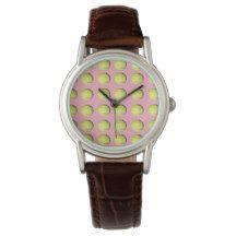 Golf_Balls_On_Pink_Ladies_Brown_Leather_Watch. Wrist Watch