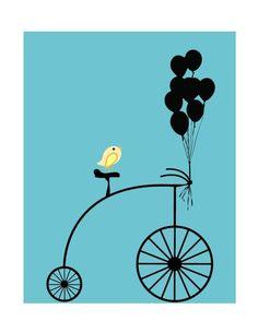 bicycle, bird, balloons