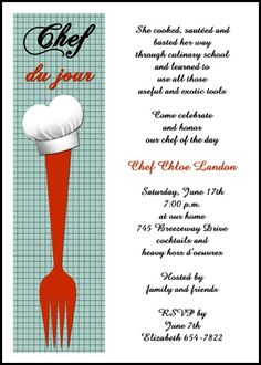 fork and chef hat cooking culinary school graduation announcement invitation for graduate commencements and graduating ceremonies at GraduationCardsShop, our card number 7636GCS-LM, with freebies, discounts, incentives, and other special promos