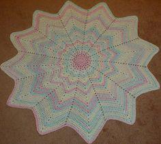 Karens Crocheted Garden of Colors: Sugar Baby Stripes Round Ripple Blanket