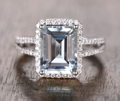 $1,228 Emerald Cut Aquamarine Engagement Ring Pave Diamond Wedding 14K White Gold 10x12mm Split Shank