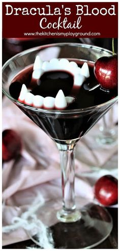With its deep dark red color from black cherry juice and grenadine, this Dracula's Blood Cocktail is simply perfect for Halloween sipping. Drop in some plastic vampire teeth to add to the Halloween cocktail fun! Spooky Halloween, Halloween Dinner, Halloween Food For Party, Halloween Treats, Halloween Costumes For 3, Halloween Recipe, Halloween Crafts For Kids, Halloween Decorations, Halloween Cocktails