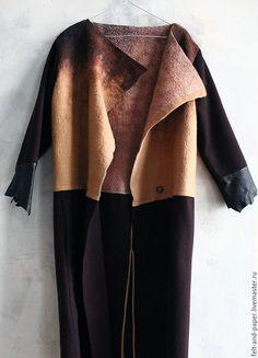 Верхняя одежда ручной работы. Длинное пальто из валяного войлока, сукна и кожи. Felt&Paper. Ярмарка Мастеров. Пальто женское