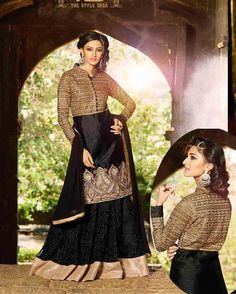 Black   enchanting Embroidered Silk Salwar Suits for women(Semi Stitched)       Fabric:   Silk       Work:   Embroidered       Type:   Salwar Suits for   women(Semi Stitched)       Color:   Black                 Fabric Top   Silk       Fabric Bot