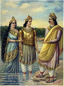 Painting depicting presentation by Ganga of her son Devavrata (the future Bhishma) to his father, Shantanu