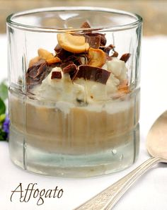 Affogato...a delicious dessert made with ice cream, espresso or strong brewed coffee, chocolate and nuts.  The perfect summer treat that can be made at the spur of the moment for unexpected guests or just the two of you enjoying a warm summer night on the deck.