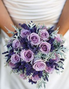 purple wedding flowers purple roses lavender and dusty miller bridal bouquet wedding Purple wedding flowers in Category Purple Wedding Bouquets, Lilac Wedding, Bride Bouquets, Bridal Flowers, Dream Wedding, Wedding Bridesmaids, Lavender Weddings, Bouquet Wedding, Fall Wedding