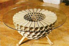 Nice Table out of Toiletpaperrolls - no tutorial - Design de interiores: DESIGN SUSTENTÁVEL - REUSO : PAPELÃO