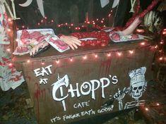 Chopps haunted butcher shop for Halloween. It's finger eatin' good! Halloween Outside, Halloween Office, Halloween Kitchen, Adult Halloween Party, Halloween Carnival, Outdoor Halloween, Halloween Horror, Halloween Party Decor, Halloween House