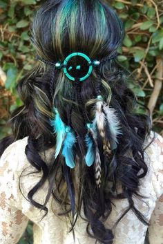 """Stunning black and teal dreamcatcher headband featuring a mix of aqua colored feathers as well as chinchilla feathers. Dreamcatcher ring is 2"""" in diameter with"""