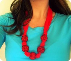 Six Sisters' Stuff: Anthropologie Inspired Large Bead Chiffon Necklace  Had something like this as a kid.
