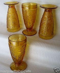 Tiara Indiana Glass 4 Amber Sandwich 10 oz Tumblers | eBay