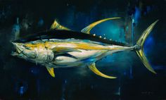 """Take the Bait / 36"""" x 60"""" / Oil on canvas / Sold  Life-sized painting of a Yellowfin Tuna."""