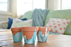 Marbled pots DIY project! Super easy.