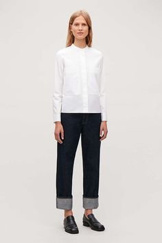 Model front image of Cos patch-pocket grandad shirt in white Grandad Shirts, Minimalist Wardrobe, Khaki Green, White Shirts, Normcore, Long Sleeve, Casual, Sleeves, How To Wear