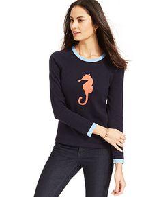 Jones New York Signature Petite Long-Sleeve Seahorse Sweater