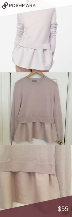 COS Sweatshirt with Contrast Skirt, Size S The perfect feminine and effortless knitted top with contrast skirt from Scandinavian brand COS. Women's size S. Knitted part: 100% wool. Woven-part: 57% wool, 32% cotton, 11% silk. Dry clean only. Only worn twice, in great condition. Coloring is similar to a very soft pastel purple/blush. So pretty and comfortable to wear! COS Sweaters Crew & Scoop Necks