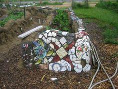 Mosaic on cob walls
