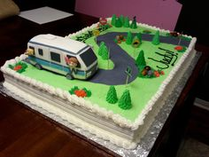 Retirement full sheet cake with rice crispy treat RV and modeling chocolate trees