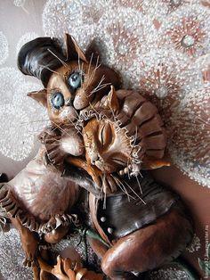 """Купить Объемная картина """"Свидание"""" из глины - коты и кошки, романтика, коричневый, картина в подарок Lion Sculpture, Statue, Art, Art Background, Kunst, Performing Arts, Sculptures, Sculpture, Art Education Resources"""