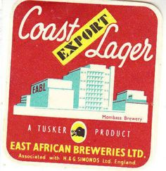 Coast Lager Mombasa Brewery Beer Label