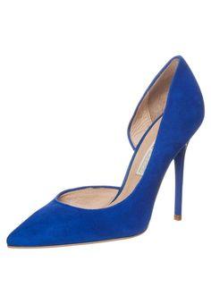 Buffalo Czółenka suede blue electric / kobalt cobalt indygo chabrowe szpilki asymetryczne