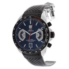 TAG Heuer Men's CAV511C.FT6016 Grand Carrera Titanium Automatic Black Dial Watch TAG Heuer. $5095.00. Scratch-resistant sapphire. Black dial. Swiss Automatic movement. Water-resistant to 330 feet (100 M). Stainless steel and titanium case, black rubber strap