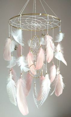 Catch happy dreams with this beautiful dream catcher mobile. Light and airy, a gently breeze makes the fe Dream Catcher Decor, Dream Catcher Nursery, Dream Catcher Mobile, Small Dream Catcher, Feather Dream Catcher, Dream Catcher Boho, Dream Catcher White, Pink Gold Nursery, Gold Nursery Decor