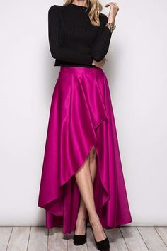 Be holiday ready with this elegant and sexy Magenta Hi/Lo Maxi Skirt! Wear with a black bodysuit for maximum style.