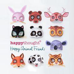 10個可打印動物面具:狗,貓,熊,貓頭鷹,狐狸,老虎,鹿,兔,考拉和熊貓。 DIY模板打印和使用Happythought。