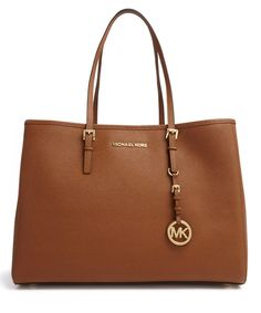 Jet+Set+large+brown+leather+tote+by+Michael+Kors+on+secretsales.com