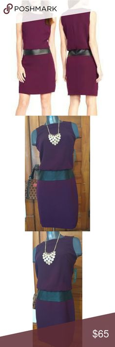 NWT | Ralph Lauren | Drop waist Crepe Dress Brand new with tags drop waist crepe dress with a faux leather panel. Very pretty purple color. Wear to work, or wear out. 100% polyester and faux leather. make me an offer:) Ralph Lauren Dresses