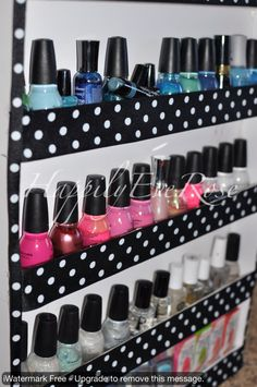 Inexpensive solution to how to display nail polish... camp idea